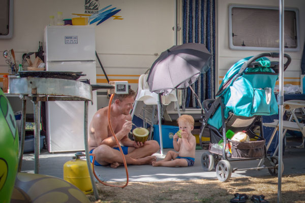 camping familiar a pie de playa